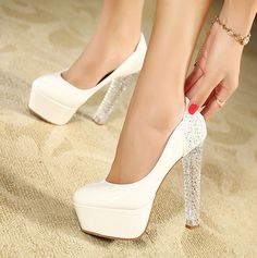 Women White Suede Glitter Crystal Heels Platform Stiletto Pump Wedding Shoes