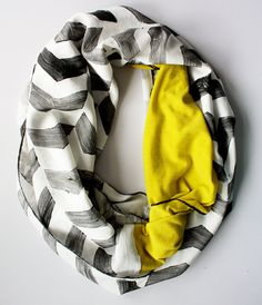 chervon snood scarf (hand-painted silk and chartreuse merino wool | pombypomegranate