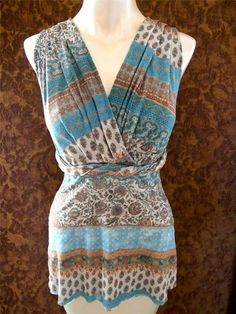 ANTHROPOLOGIE Sweet Pea Blue Floral Patchwork Print Wrap Ruched Mesh Top S 4 6 #SweetPea #Wrap #Casual