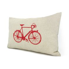Bicycle decorative pillow cover - Red vintage bike print on natural cotton canvas throw pillow case - 12x18 pillow cover. $30.00, via Etsy.