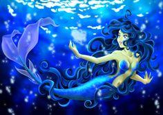 Winter Blue Mermaid and Arctic Octopus