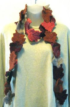 leaf scarf made from old wool sweaters