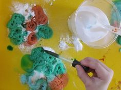 DO FOR KID FEST. Bubble-filled explosions! A fun volcano-esque science experiment that is open-ended and child centered enough to be set up as a learning center!