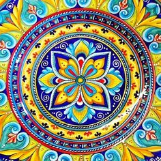 Bonechi Imports - Detail of one of our Antico Geometrico 17 Round Serving Platters, Italian pottery handmade by Sberna in Deruta Ibiza, Tuile, Italian Tiles, Italian Pottery, Spanish Tile, Tile Patterns, Rangoli Patterns, Mandala Coloring, Tile Art