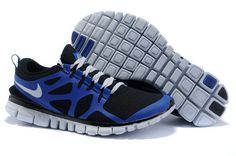 Discount Mens Nike Free 3.0 V3 Black Blue White Running Shoes