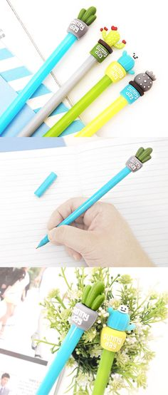 The Cactus Pen is a fine black ink pen with 0.5mm tip that helps me write well! On the top of its slim body, there is a cactus design that makes the pen so adorable!