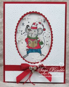Christmas Shaker Card from Stamping Madly, made with Merry Mice stamp set from Stampin' Up!