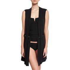 Shan Go West Coverup Vest ($335) ❤ liked on Polyvore featuring outerwear, vests, black, vest waistcoat, shawl collar vest, open front vest, net vest and tie belt