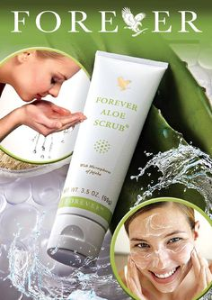"Aloe Scrub Jojoba oil suspended in pure aloe vera, gentle enough to use every day – even on your face – works together to slough off dead skin cells, open up pores and clear the way for your skin's unique renewal process, revealing radiant, ""new,"" healthier skin."