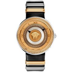 Versace 'V-Metal Icon' Leather Strap Watch, 40mm (€1.500) ❤ liked on Polyvore featuring jewelry, watches, bracelets, black, black metal watches, black metal jewelry, engraved bracelet, engraved watches and black bracelet