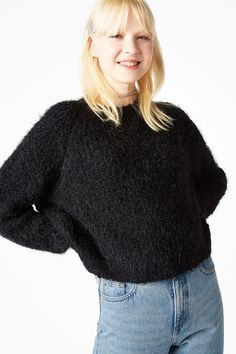Monki Image 2 of Fluffy sweater in Black