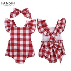 2b90e89dcdd Newborn Baby Romper Toddler Infantil Jumpsuit Kids Plaid Rompers+ Bowknot  Headband Clothes Set Girl Outfits Costume
