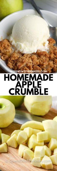 Apple Crumble topped with ice cream in a white dish, and apples chopped up on a wooden board under the title. #spendwithpennies #applecrumble #recipe #dessert #easy #best Best Summer Desserts, Bbq Desserts, Just Desserts, Dessert Recipes, Apple Crumble Recipe Easy, Apple Crumble Topping, Best Apples For Baking, Traditional Easter Desserts, Apple Recipes