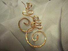 Handmade Copper Earrings, Copper Jewelry, Hammered Copper Bracelet, Swirl Squiggle Earrings