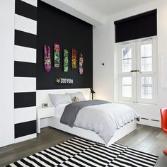 skateboards modern bedroom black white grey with colors