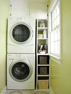 Put a smaller, stackable set in the master closet - then another larger set in the basement mudroom for towels, bathing suits, larger loads