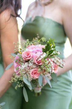 Wedding Bouquets Inspiration : Pretty pink bouquet against a green dress: www.stylemepretty | Photography: H