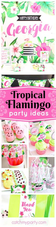 Get rid of the winter blues with this fantastic Tropical Flamingo birthday party! The desserts are so cool!! See more party ideas and share yours at http://CatchMyParty.com