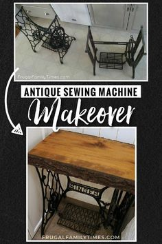 We took an old Singer sewing machine table base and made a modern antique Singer sewing machine table. A very simple DIY project with beautiful results! Treatment Projects Care Design home decor Diy Furniture Plans, Repurposed Furniture, Furniture Projects, Furniture Makeover, Furniture Online, Old Sewing Machine Table, Antique Sewing Machines, Diy Home Decor On A Budget, Affordable Home Decor