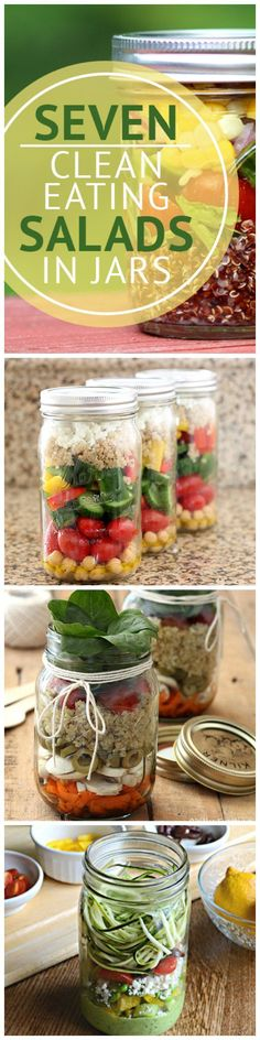 Healthy salads are a surefire way to clean up eating habits and help you to lose weight.  Try these 7 Clean Eating Salads in Jars!  #cleaneatingrecipes #saladrecipes #masonjarsalads