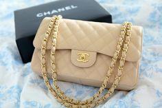 Que menina nunca sonhou em ter uma bolsa Chanel? Essa é uma das mais tradicionais e simples mas podem falar é linda, né?? Tem ela em diversas cores mas na minha opinião essa é uma das melhores cores!