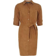 Dorothy Perkins tan suedette shirt dress ($55) ❤ liked on Polyvore featuring dresses, brown, brown dress, dorothy perkins dress, shirt-dress, tan dress en shirt dress