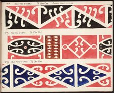 In 1930 Albert Gobder copied the decorative Maori patterns known as kowhaiwhai from Nga Tau e Waru meeting house in what is now the Masterson district of New Zealand.  Photograph courtesy Alexander Turnbull Library