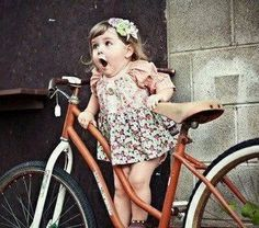 #Cycling joy - reminds me when I got my first bicycle after my three wheeler trike!