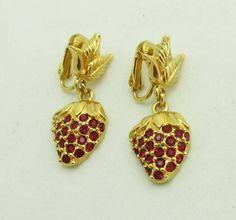 Avon Strawberry Earrings Rhinestones Gold by JellyBellyJewels