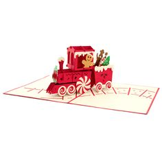 We're so close to Christmas now, you can smell the cinnamon and ginger already! The fun Christmas friends chilling on a rolling candy train will spread the holiday spirit to anyone.  https://charmpopcards.com/product/gingerbread-train-pop-up-card #popupcards #Christmascard