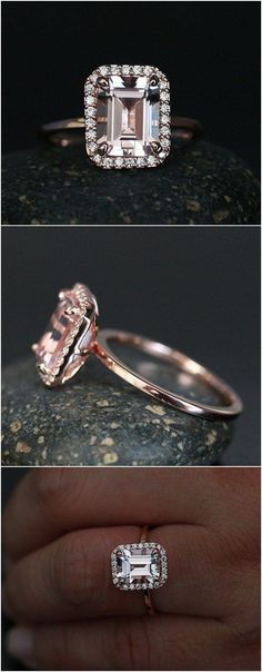 Morganite Emerald Cut Engagement Ring in 14k Rose Gold with Morganite 9x7mm and Diamond Halo / http://www.deerpearlflowers.com/emerald-cut-engagement-rings/