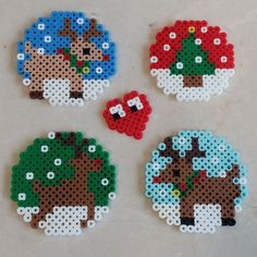 Christmas ornaments perler beads by jina.choi85: