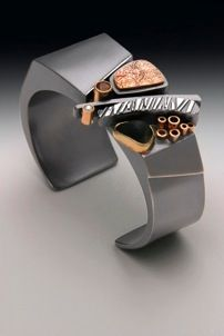 Cuff Bracelet Linda Steinworth  Sterling silver, 14 & 18 kt. gold with Lake Superior beachstone and faceted andalusite.