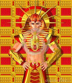 Faraó egípcio Ramsés.  Uma versão digital da arte moderna do antigo rei egípcio.