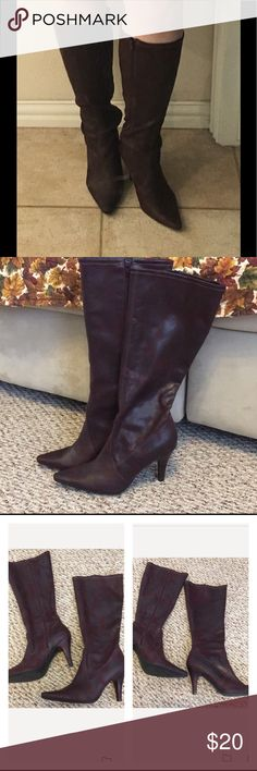"""SALE!  Sexy Soft-side Heeled Boots Minimal wear, once maybe twice heel is higher than desired by owner. Brownish/wine-ish body.  Unsure if leather; likely is man-made material. Body has a rich matte distressed look. Lighter-weight versus stiff upper gives it a sexy-nice slouched look. Inside zip entry.  Only noticeable wear is a bit on the heel & outer left one tiny area where there's an impression (see last 2 pics). Approx 3.5"""" heel doesn't feel that height. No box but will be shipped…"""