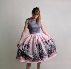 Vintage 1950s Asian Scene Print Dress by zwzzy, $160.00