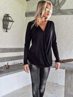 Black Asymmetric Draping Blouse / Asymmetric Draping Loose Blouse / #35118