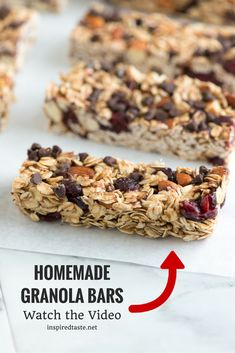These granola bars are so much better than what you can by at the store, especially since you can substitute for your favorite dried fruit or nuts. See how to make them now on inspiredtaste.net