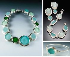 amy faust recycled glass jewelry set