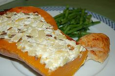 Butternut Squash stuffed with Apples and Cheese- Moosewood Cookbook