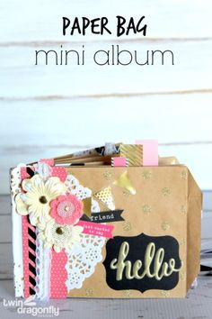 Such a fun gift idea! Make this Paper Bag Mini Album using the Home+Made line of paper! Heather from Twin Dragonfly Designs shows us how! Paper Bag Book Cover, Paper Bag Books, Paper Bag Crafts, Paper Bag Album, Paper Craft Supplies, Paper Bags, Fun Crafts, Paper Bag Scrapbook, Mini Scrapbook Albums
