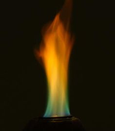 Easy Way To Make Rainbow Fire: Sprinkling boric acid onto gel fuel produces a rainbow-colored flame.