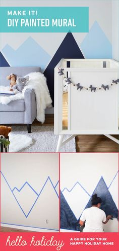 DIY Nursery Mountain Mural - Hello Yellow Blog                                                                                                                                                                                 More