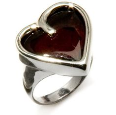 Baltic Cherry Amber and Sterling Silver Large Heart Ring Sizes 5,6,7,8,9,10,11,12
