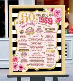 Digital Printable File Only! Back in 1959 Birthday Digital Board, 60 years ago Back in Birthday Poster, Birthday Board Digital Printable File Only Back in 1959 Birthday Digital 60th Birthday Invitations, 1st Birthday Banners, 60th Birthday Gifts, Birthday Board, Mom Birthday, 60 Birthday Party Ideas, Birthday Crafts, 60th Birthday Sayings, 60th Birthday Party Decorations