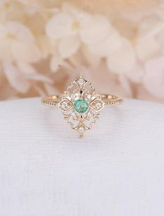 Art deco engagement ring Vintage antique Emerald engagement ring rose gold Alternative Unique Delicate Diamond wedding women Bridal Jewelry