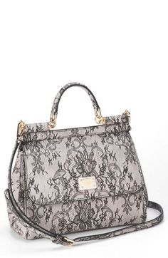 Dolce&Gabbana 'Miss Sicily - Printed Lace' Top Handle Leather Satchel, Small available at #Nordstrom