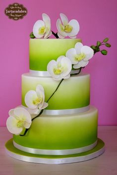 Ombre Green Cake with Moth Orchids Beautiful Wedding Cakes, Gorgeous Cakes, Pretty Cakes, Wedding Cake Jewelry, Airbrush Cake, Orchid Cake, Bolo Floral, Green Cake, Spring Cake