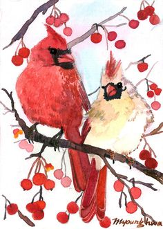 ACEO Limited Edition 4/25- Winter cardinal on a berry tree, in watercolor. 4.00, via Etsy.