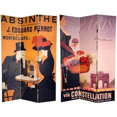 This room divider lets you express your love for European flair with these two magnificent, early 20th century graphic art reproductions. Handmade of high-quality wood, this room divider will add an elegant touch to any room.